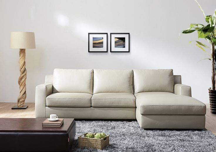 BILLY J PREMIUM LEATHER SECTIONAL SLEEPER SOFA BED - RIGHT SIDED, BEIGE