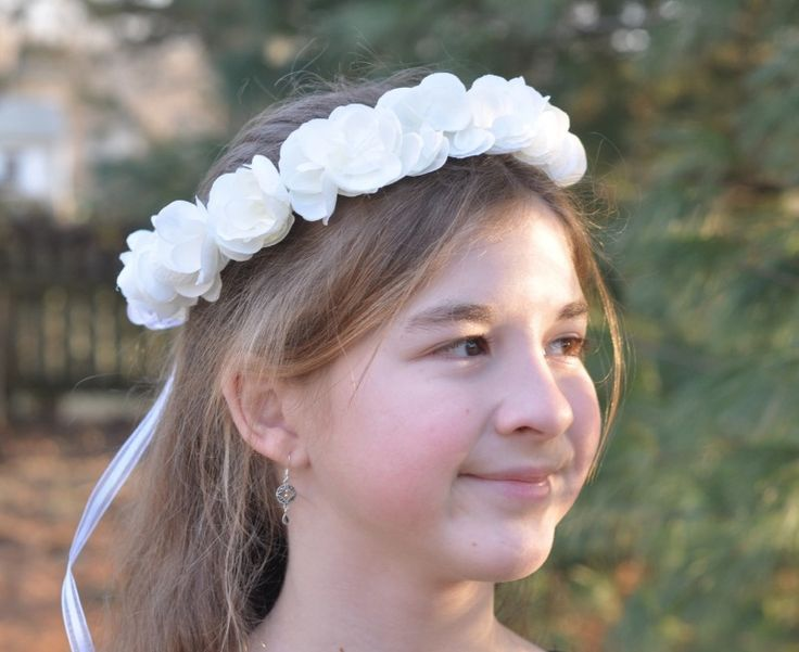 White Hydrangea Floral Crown perfect for your Flower Girl or First Communion.  Photography by Adair Design Haus.  adairdesignhaus.com