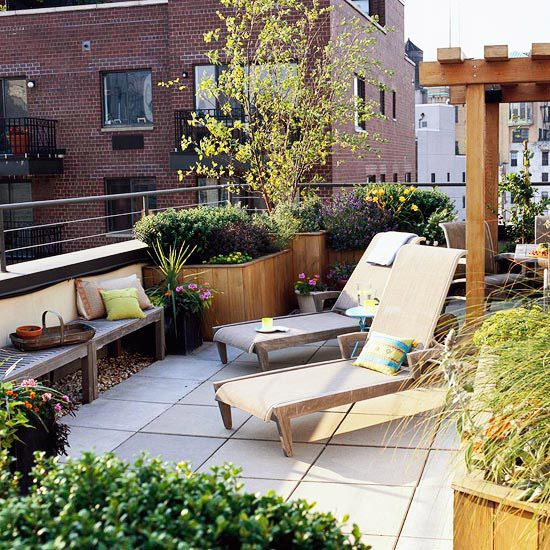Up on the Roof -Nearly any garden space can host a pergola -- even a rooftop garden. If you want a pergola such as this, it just takes a little more planning. Be sure your rooftop can support the weight of the pergola -- and be sure your pergola is sturdy enough that the wind won't knock it down (or give it extra support by attaching it to the roof