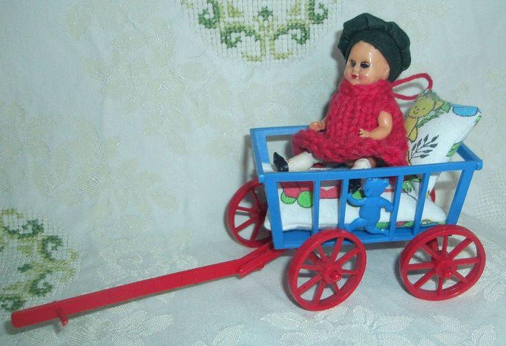 Puppenstube Fiedler & Podey Bollerwagen Handwagen Ziehwagen + Püppchen Hong Kong