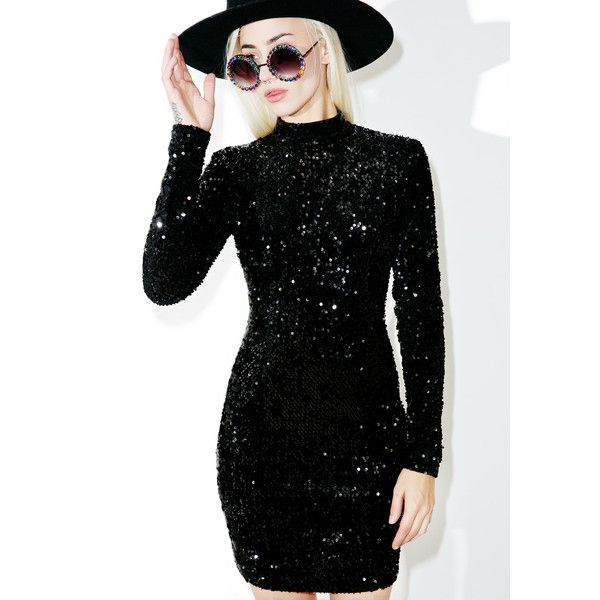 Black Long Sleeve Sequin Dress ($65) ❤ liked on Polyvore featuring dresses, sparkly dresses, body con dress, bodycon cocktail dress, long sleeve sparkle dress and sparkly cocktail dresses
