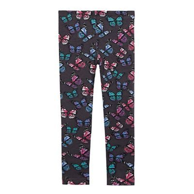 bluezoo Girls' grey butterfly print leggings | Debenhams
