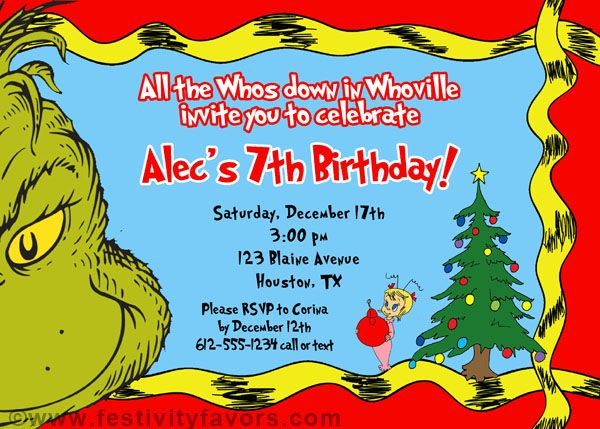 grinch christmas birthday party invitations 100 each