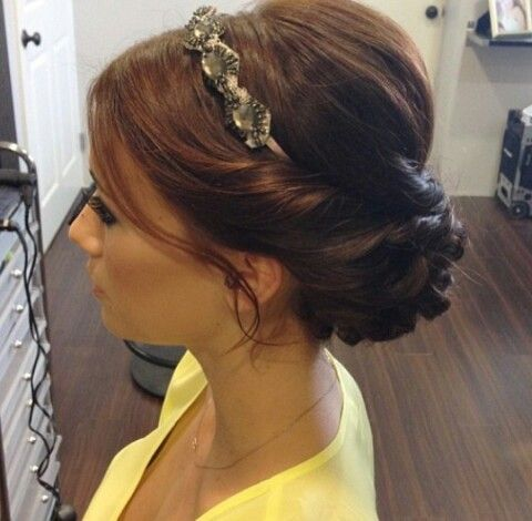 Love the updo with the headband!