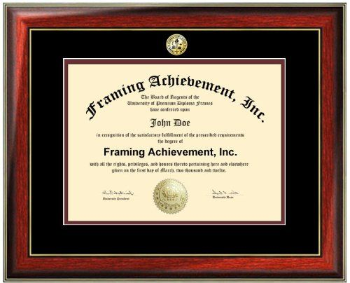 Premium Satin Rich Mahogany with Gold Accents Diploma Frame  Choice of College Major Gold Seal Insignia  Top mat Black Inner mat Maroon  College Certificate Frame * Read more reviews of the product by visiting the link on the image.
