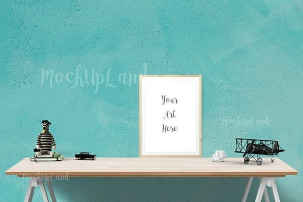Turquoise Wall scene, 1 large frame with transparency, fresh mock up
