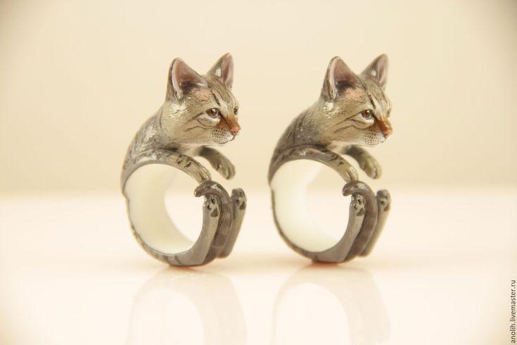 Купить Кольцо Кошка. Кольца с животными. Cat ring - комбинированный, кошка, Кошки, киски, котята