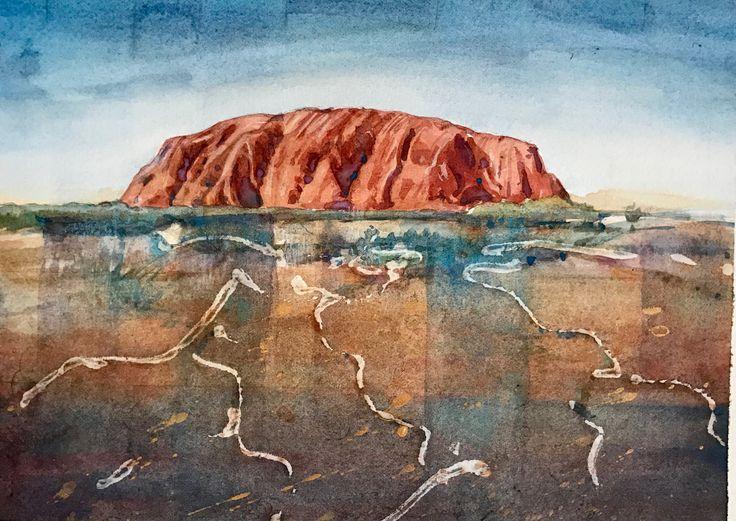 Uluru NT the green red centre watercolour by Jenny Diamond