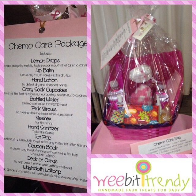 Chemo Care Packages are back! They will be available shortly on www.weebittrendy.com We will also be giving ONE away this month! Chemo Care Package by @weebittrendy! Includes: Lemon Drops, washcloth lollipops (washcloth,fork and spoon), Kleenex, tot pop, hand sanitizer, deck of cards, coupon book, bottled water, straws, tote bag, cozy cupcakes, hand lotion, and lip balm Great for some who is going through chemo #breastcancerawareness #breastcancer #chemo #chemocarepackage