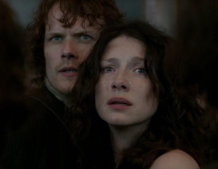 Jamie (Sam Heughan) and Claire Fraser (Caitriona Balfe) in The Devil's Mark of Outlander on Starz via http://outlander-online.com/2015/04/19/2780-uhq-1080p-screencaps-of-episode-1x11-of-outlander-the-devils-mark/