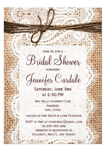 Rustic Country Burlap Bridal Shower Invitations.  Two Sided Invites.  Discount Prices based on the number of invites you order.  Perfect for a country bride.  #bridalshower #burlap