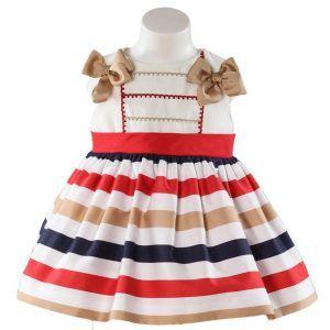 Vaatteita tytöille. Miranda textilesin raidallinen mekko tytölle. Vauvanvaatteita ja lastenvaatteita www.nellikki.fi