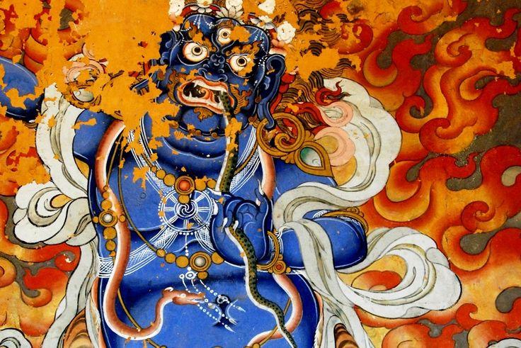 Colourful mural, Bhutan