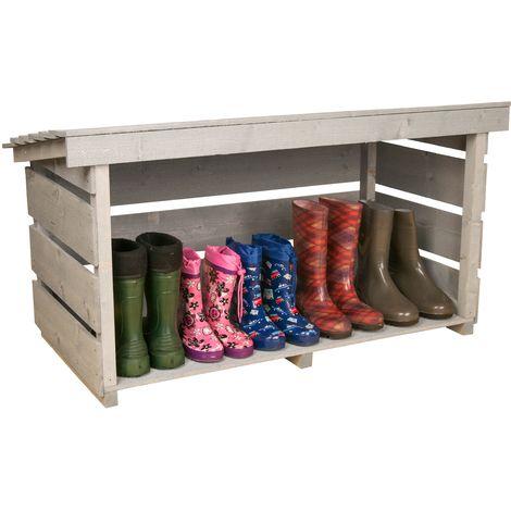 Charles Bentley Wellington Boot Rack Outdoor Storage Shelf w/ Roof Weatherproof