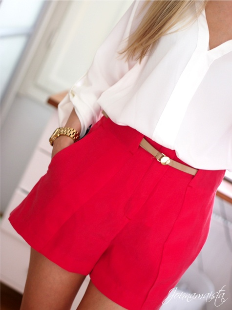 Red shorts + cream gauzy blouse = Classic with a punch