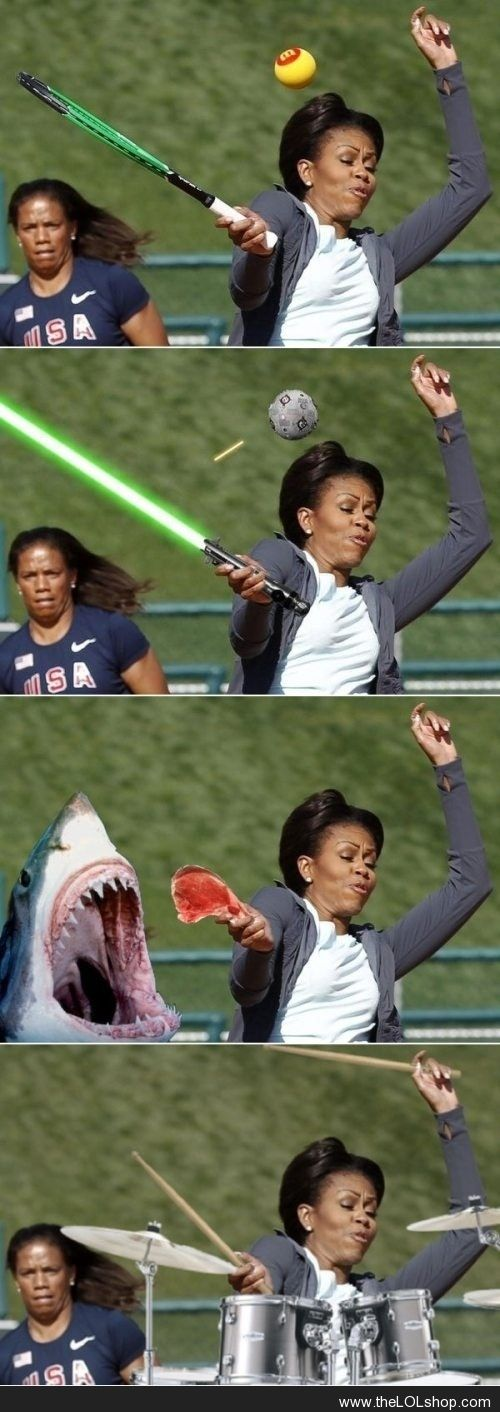 Photoshop level: Michelle Obama | look at the girl's face in the back