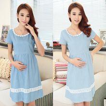 Ropa para mujeres embarazadas 2016 de maternidad del verano vestidos las mujeres embarazadas dulce sólido azul y de color claro vestidos(China (Mainland))