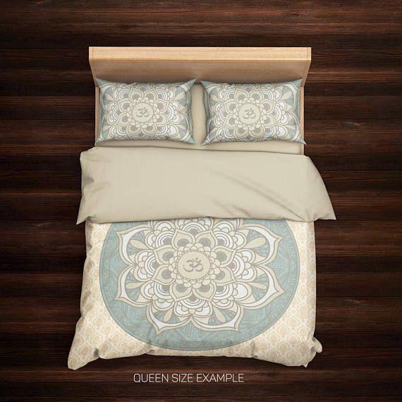 Om Bedding,Mandala Duvet Cover Set,Boho Bedding,Hippie Bedding,Bohemian Bedding,Boho Duvet Cover,Mandala Bedding Beige