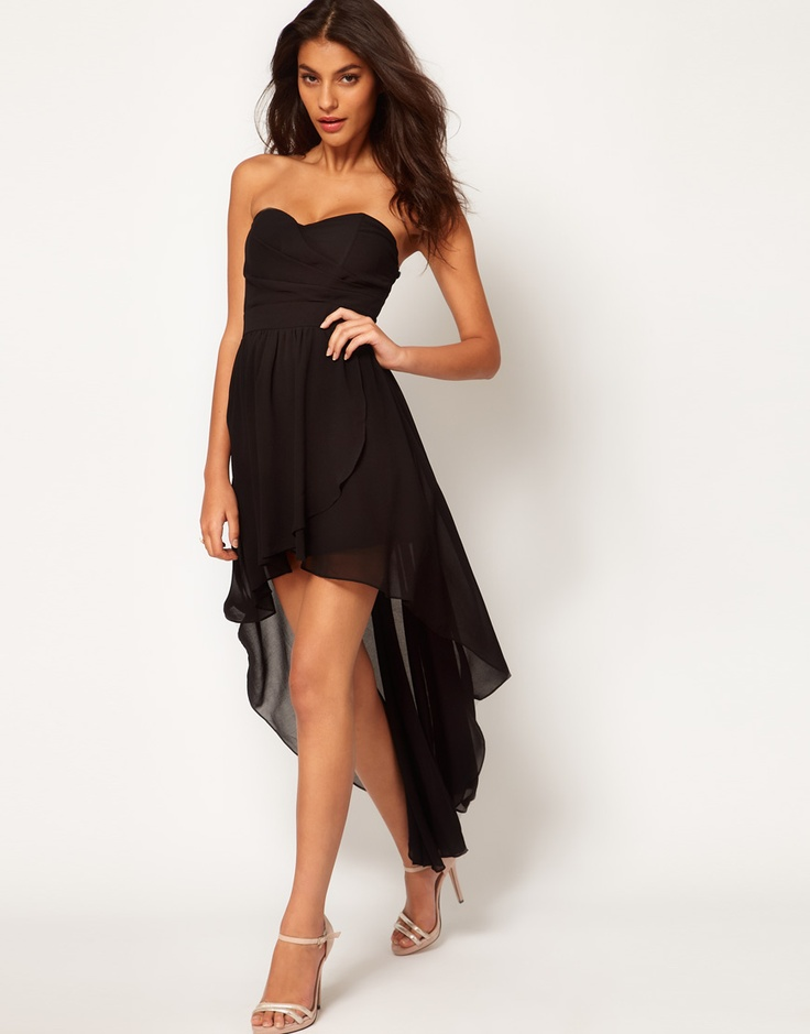 Pleated Chiffon Bandeau Hi Lo Dress