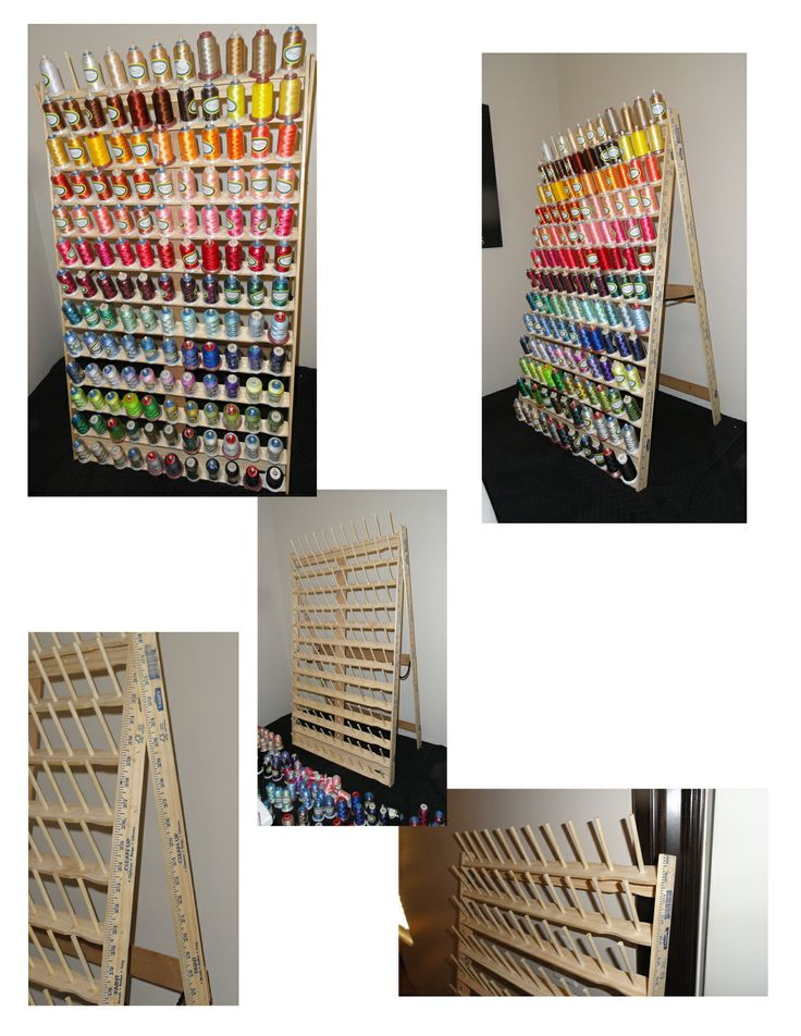 Creative Embroidery Thread Holder Made Out Of Yardsticks And Large