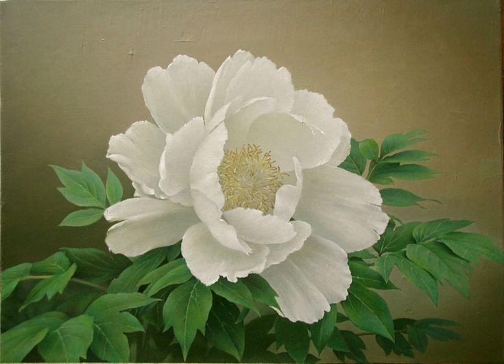 「 牡丹」 続木唯道 油彩(F10号) 2004年 個人蔵  絵に描いた花では薔薇が一番多く、次いで月下美人や牡丹がくる。  他に薮椿、水仙など和風な感じの花も描いたが、艷やかでボリュームがある花の方が見応えがする、というわけで描いたのが、この白の大輪の牡丹である。  薔薇や月下美人同様「白」の花は微妙な陰影が出しやすく、葉の緑に瑞々しく映える点が魅力だ。微かな風にも揺れる花弁がいかにも儚げである。