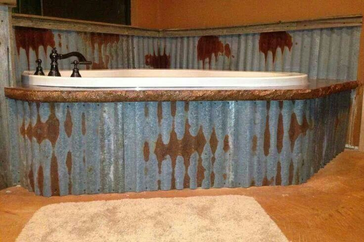 LOVE the idea of tin in the bathroom and around the tub to cover up a plain tub!!!