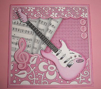 Handmade Greeting Card 3D All Occasion with A Pink Guitar | eBay