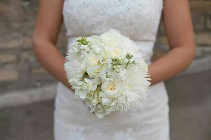 All - White bouquet with spider mums, white (innocencia) roses, large white hydrangea, white stock.  ::Myra Rose Florist:: Visit us at one of our two locations in Winnipeg! :)