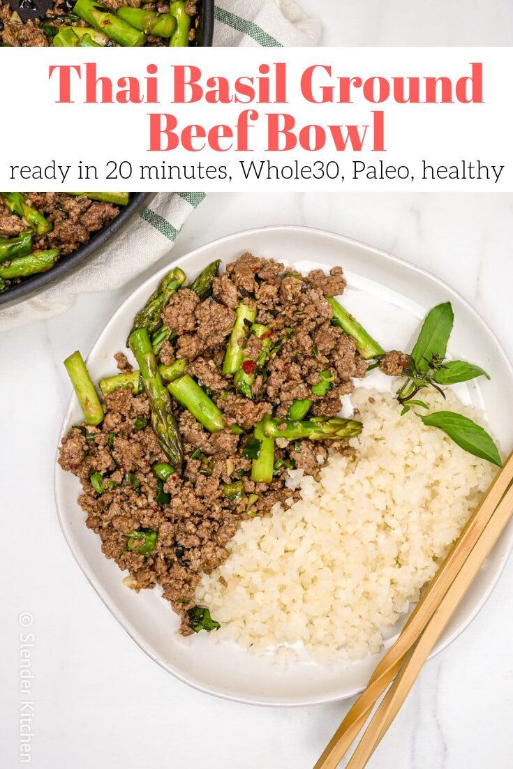 Thai Basil Ground Beef Bowl Slender Kitchen Recipe Recipes Slender Kitchen Beef Bowl Recipe