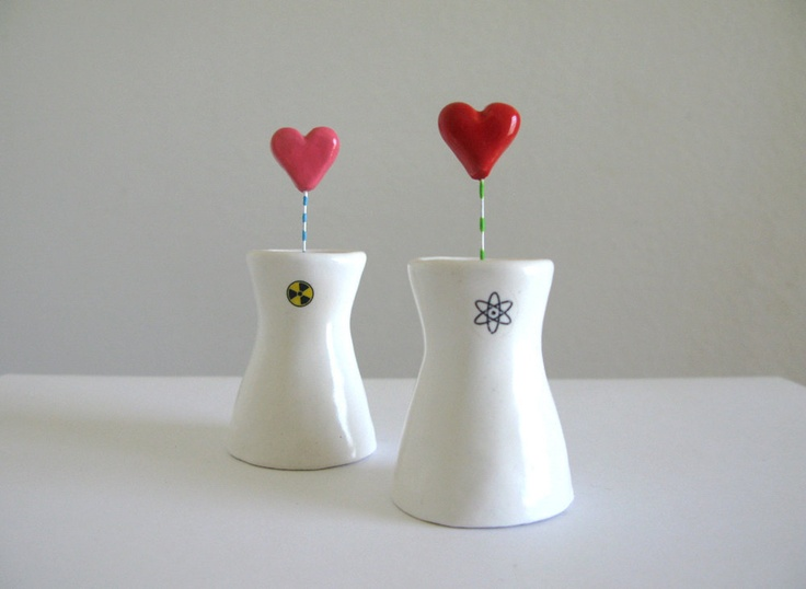 A Nuclear Love Story - miniature nuclear cooling towers with hearts - geeky wedding cake toppers  - white ceramic sculpture. $29.00, via Etsy.
