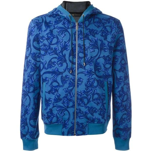 Versace 'Barocco' printed hoodie ($1,030) ❤ liked on Polyvore featuring men's fashion, men's clothing, men's hoodies, blue, mens blue hoodies, mens patterned hoodies, mens sweatshirts and hoodies, mens graphic hoodies and mens hoodies