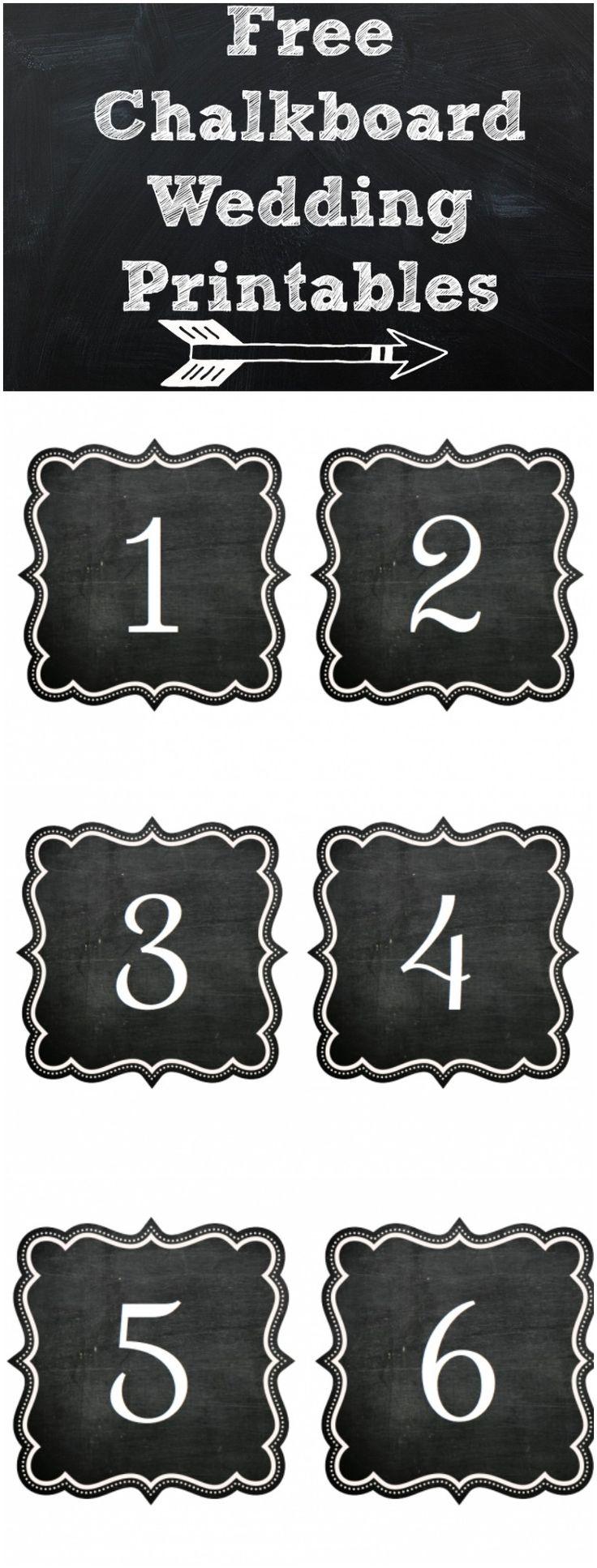 FREE printable Chalkboard numbers! From rusticweddingchic.com & @Kristin | Paige Simple Studio
