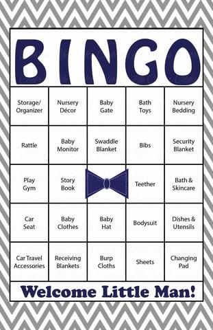 Little Man Baby Bingo Cards - Printable Download - Prefilled - Baby Shower Game for Boy - Navy & Gray