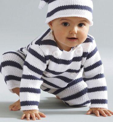 Modèle combinaison rayée bébé