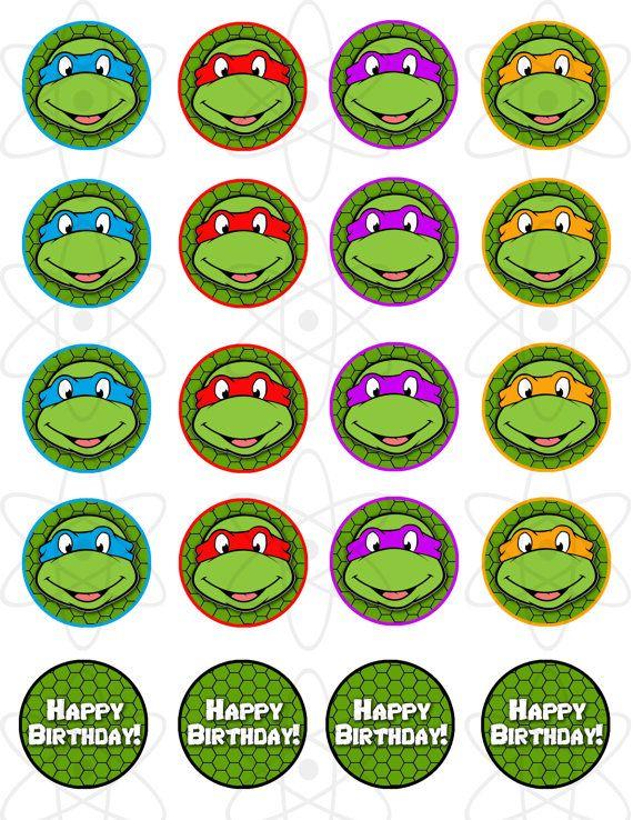 PRINTABLE Teenage Mutant Ninja Turtles Cupcake Toppers on Etsy, $5.00