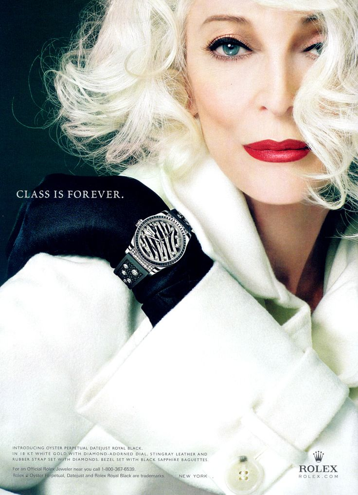 Style Icon Carmen Dell'Orefice in a recent Rolex ad. A supermodel since the 1940s, Carmen is still on magazine covers and the catwalk.