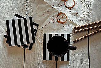 Pomôcky - Podšálky - podložky pod pohár - čierno biele pásiky - 6417246_