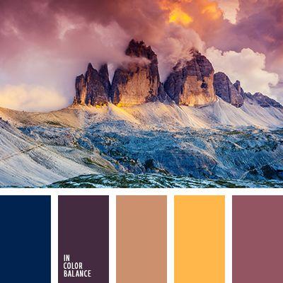 баклажанный, баклажановый, бежевый, желтый, насыщенный синий, оранжево-коричневый, розовый, серо-розовый, темно-синий, фиолетовый, цвет заката, цвета лилового заката, шафрановый.