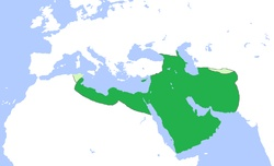 The Rashidun Caliphate (Arabic: الخلافة الراشدية‎ al-khilafat ar-Rāshidīyah), comprising the first four caliphs in Islam's history, was founded after Muhammad's death in 632, Year 10 A.H.. At its height, the Caliphate extended from the Arabian Peninsula, to the Levant, Caucasus and North Africa in the west, to the Iranian highlands and Central Asia in the east. It was the largest empire in history up until that time.[1] It is also known as the Patriarchal Caliphate.