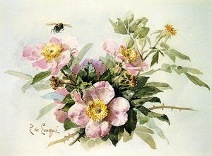 Дикие розы с пчела, акварель по Raoul De Longpre  (получить Изобразительное искусство Полиптих Принт на акриловом стекле Raoul De Longpre)