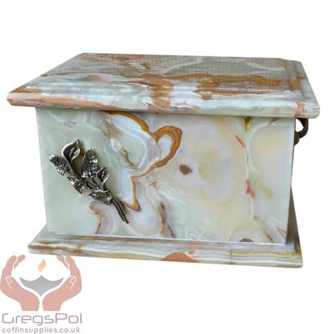 Stone Casket Natural  Onyx with brass Calla Lily  Cremation Ashes Urn For Adult (ST3L) - unique.urns_caskets - 1
