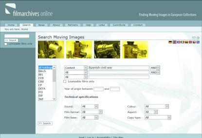 Filmarchives online (http://www.filmarchives-online.eu/) un portal web que proporciona acceso fácil y rápido a materiales fílmicos de diversos archivos europeos.