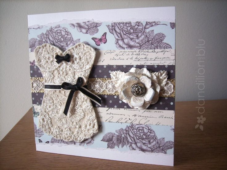 Dandilion and Blu handmade custom birthday card. Bodice decoupaged with vintage lace.