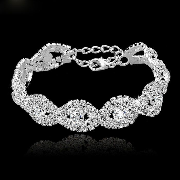 Silver Bracelets & Bangles Famous Brand Jewelry Pulseras Mujer Crystal Wedding