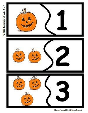 Here's a set of number matching cards with pumpkins and numerals from 1-9.