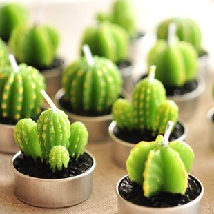 Free Shipping  Artificial Green Plants Candle Decoration  Min Cactus Candles  For Birthday  Wedding Decoration Home Decro