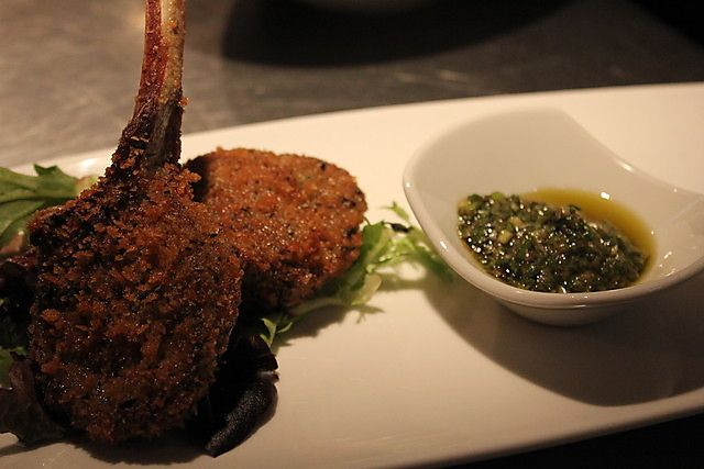 Rosemary crusted lamb cutlets served with chimichurri salsa