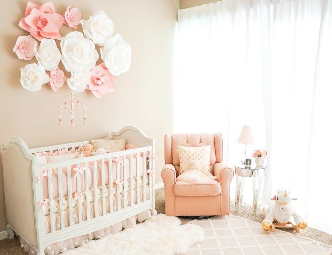 I Like The Sheepskin Rug Over The Area Rug A Touch Of Pink Nursery   Modern  Baby Mobile \\ Feltball Mobile