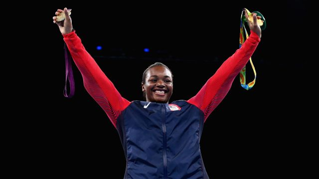 Gold medalist Claressa Maria Shields of the United States  Celebrates Winning Her 2nd Olympic Boxing GOLD Medal! The First In 2012 LONDON Olympics. (75KG)  Aug. 21, 2016