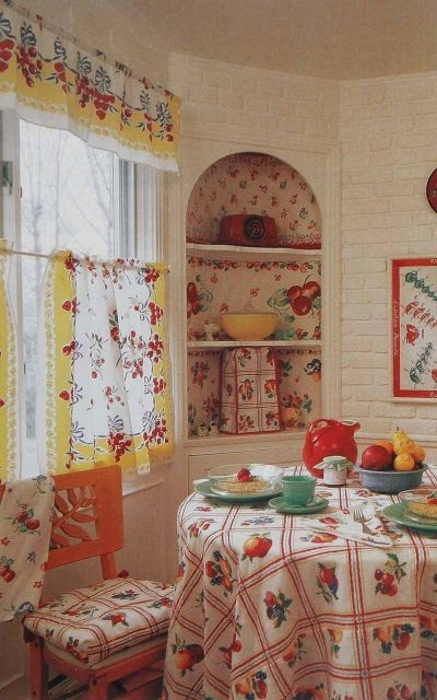 """A 1940s tablecloth fabric brings high-spirited nostalgia to the window as a cafe curtain and matching valance."" - (kitchen, linens, vintage, yesteryear) http://home.howstuffworks.com/home-improvement/home-diy/window-treatments/window-treatment-ideas20.htm"